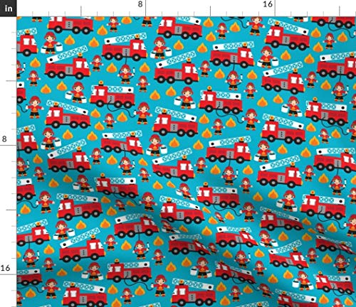 - Spoonflower Fire Truck Fabric - Fire Truck Fire Fighters Fire Rescue 911 Boys Boy Print on Fabric by The Yard - Fleece for Sewing Blankets Loungewear and No-Sew Projects