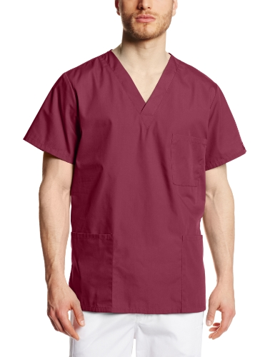 Cherokee Workwear Scrubs Unisex V-Neck Top, Wine, X-Large