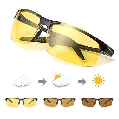 c41b19e22be Amazon.com  TJUTR Men s Photochromic Night Vision Glasses for ...