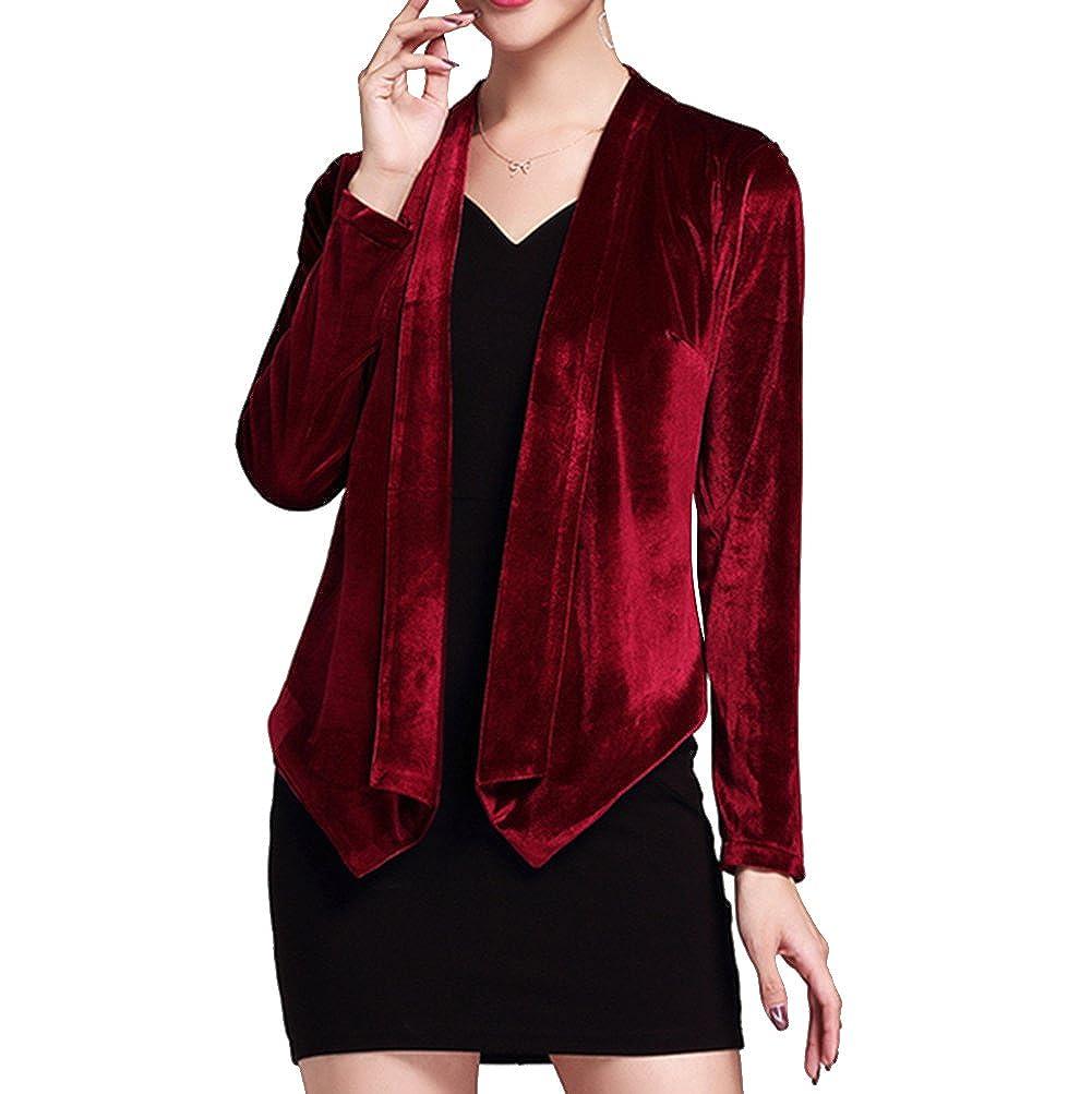 Dressyu Women's Velvet Long Sleeve Open Front Shrug Top Outwear Jacket Cardigan DU116