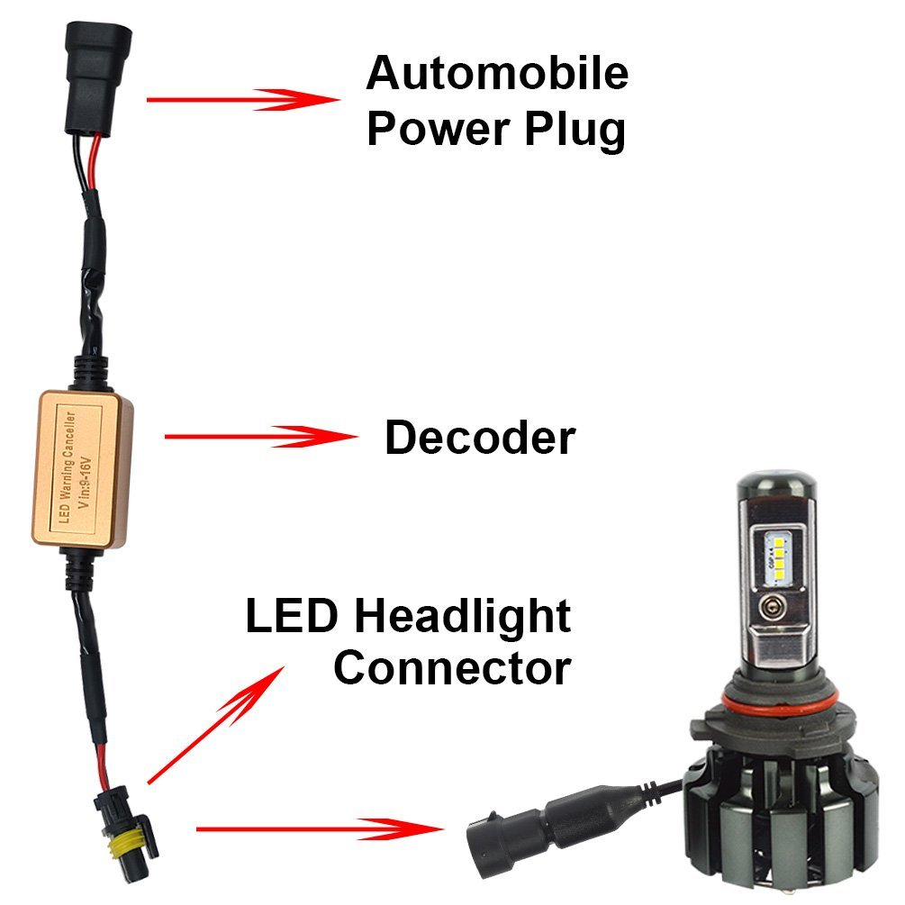 H8 H9 H11 Led Headlight Canbus Wiring Kit Error Free Adapters Harness Computer Warning Canceller And