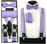 Formal Lavender Purple Convertible Suspenders Pre-tied Bow Tie & Hanky Set in Box