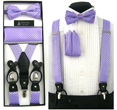 Formal Lavender Purple Convertible Suspenders Pre-tied Bow Tie & Hanky Set in Box by Antonio Ricci