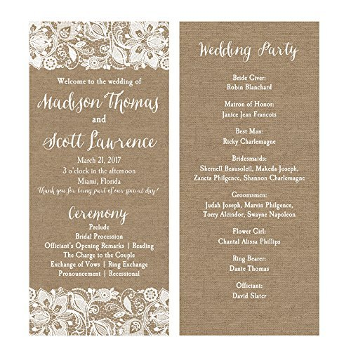 Wedding Program Mr and Mrs with ANY Wording Printed or Printable Burlap and Lace]()