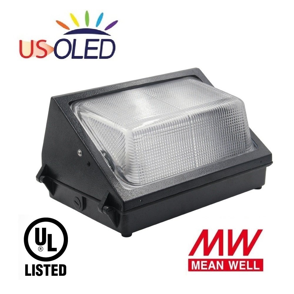 US OLED 60W Outdoor LED Wall Pack Light Fixture,Lumileds LEDs,MeanWell Driver,7200lm(300~500W HID/PHS Replacement),5000K Cool White,UL Listed,IP65 Waterproof for Commercial & Industrial Lighting