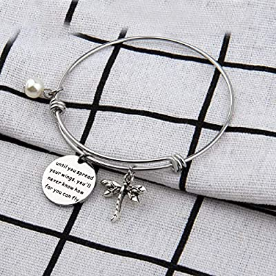 AKTAP Inspirational Jewelry Until You Spread Your Wings Youll Never Know How Far You Can Fly Dragonfly Charm Bracelet Encouragement Gifts for Her