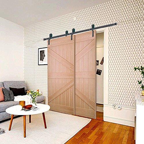 Penson & Co. Sliding Door Hardware Bypass Double Doors, Black, 6.6FT Rail by PENSON & CO.