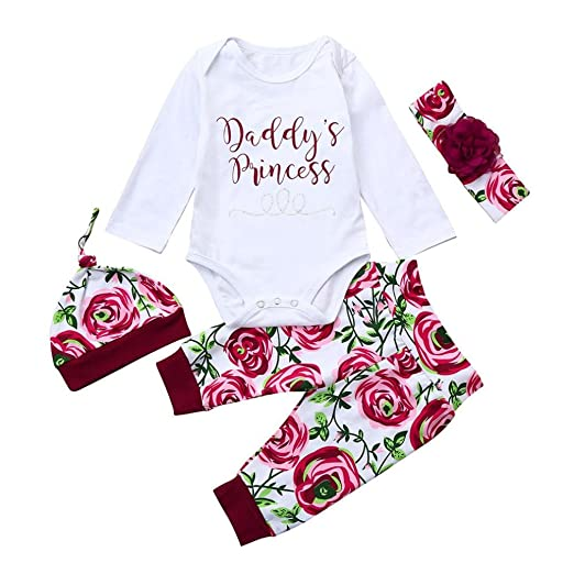 62faae216 Spring Outfits For Baby Girl, Newborn Infant Girls Cute Floral Long Sleeve  Romper Pants Clothes