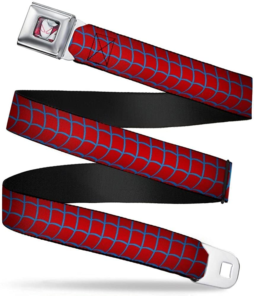 Spider-Gwen Spider-Suit Web Red//Blue 20-36 Inches in Length 1.0 Wide Buckle-Down Seatbelt Belt