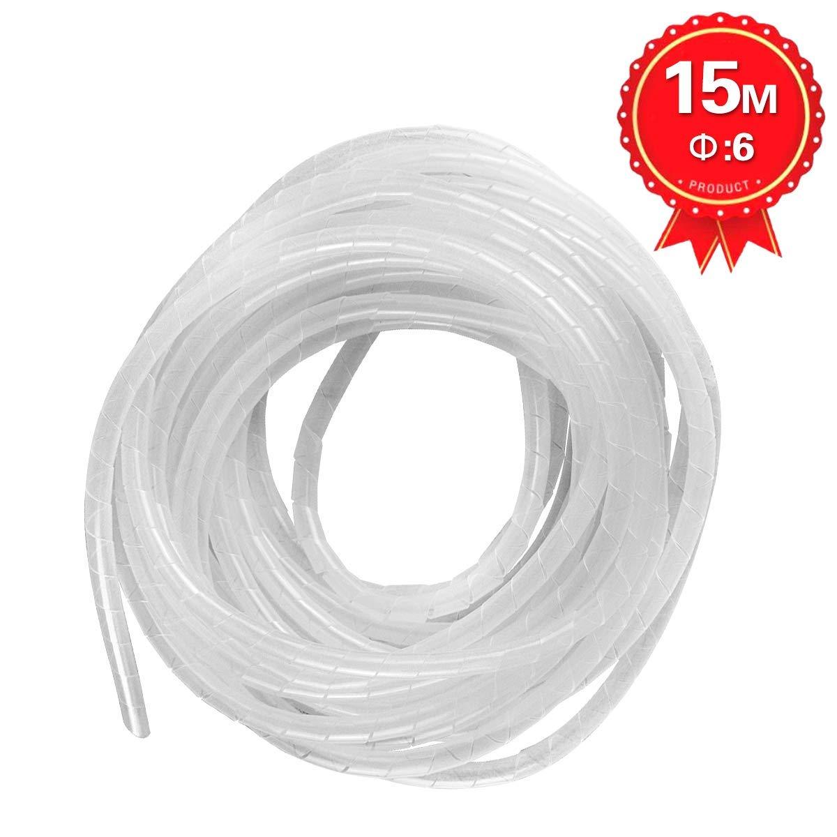 Kit de C/âble Rangement de Tube dEnroulement de C/âble en Spirale pour Prot/éger le C/âble dAntenne TV//PC//USB//T/él/é//AUX- GTIWUNG Gaine Spirale Flexible Universel 6mm 15m Blanc