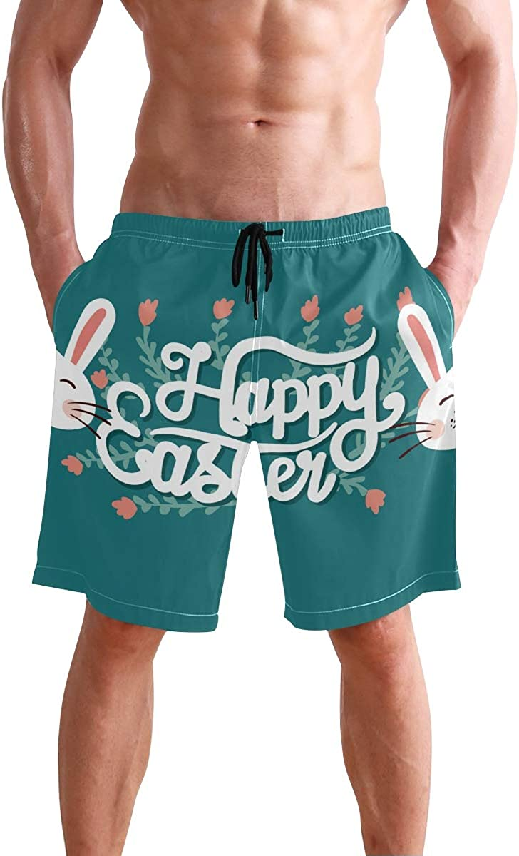 KGuanJi Happy Easter Swim Trunks Quick Dry Casual Polyester Shorts
