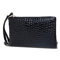 Xiton Femme Portable Alligator Texture Portefeuille Fermeture Éclair Pochette de Soirée Sac à Main Porte-Monnaie (Noir)