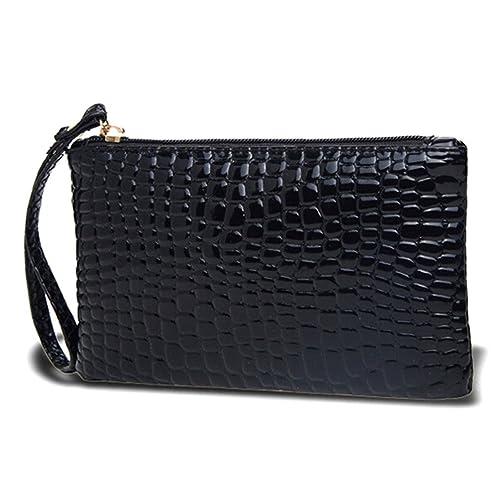 HuntGold x1 Monedero, Bolso, monedero de mujer con cremallera con texture cocodrilo (negro).