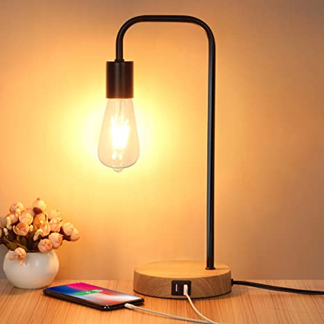 Amazon Com Touch Control Table Lamp Usb Desk Lamp 3 Way Dimmable Modern Nightstand Lamp With Two Usb Charging Ports For Bedroom Living Room Office Dimmable Vintage 6w St64 E26 Led Bulb Included