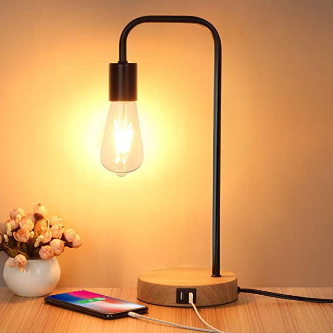 KARMIQI Dimmable LED Table Lamp,Touch Control Desk Lamp,Arc Modern Bedside Lamps for Bedroom Reading Living Room