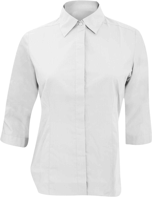 Russell Collection- Camisa entallada de manga tres cuartos de popelín y fácil cuidado de poliéster y algodón para mujer