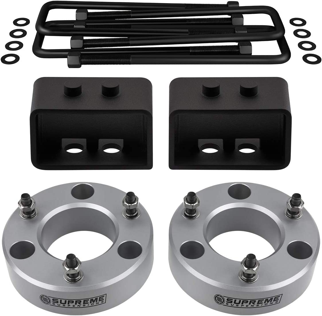 4WD Full Lift Kit for 2004-2020 Ford F-150 1.5 Rear Lift Steel Blocks Supreme Suspensions 2 Front Aircraft Billet Strut Spacers U-Bolts Black