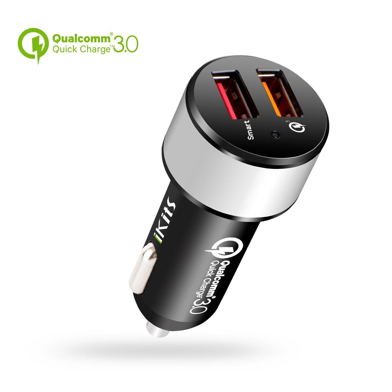 IKITS [Qualcomm Certificada] Carga rápida Cargador de Coche Quick Charge 3.0 30W Dual 2-Port USB Adaptador para Dispositivos Samsung Galaxy S7, S6, ...