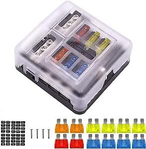 Lin XH Caja de Fusibles Porta fusibles 6 V/ías Portafusibles con L/ámpara de Alerta LED Kit Tama/ño Hoja Fusible Caja de Bloque Sostenedor