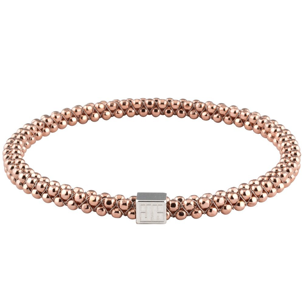 John Humphries Halo Bangle Bracelet Faceted 18K Rose Gold Plated (Large)