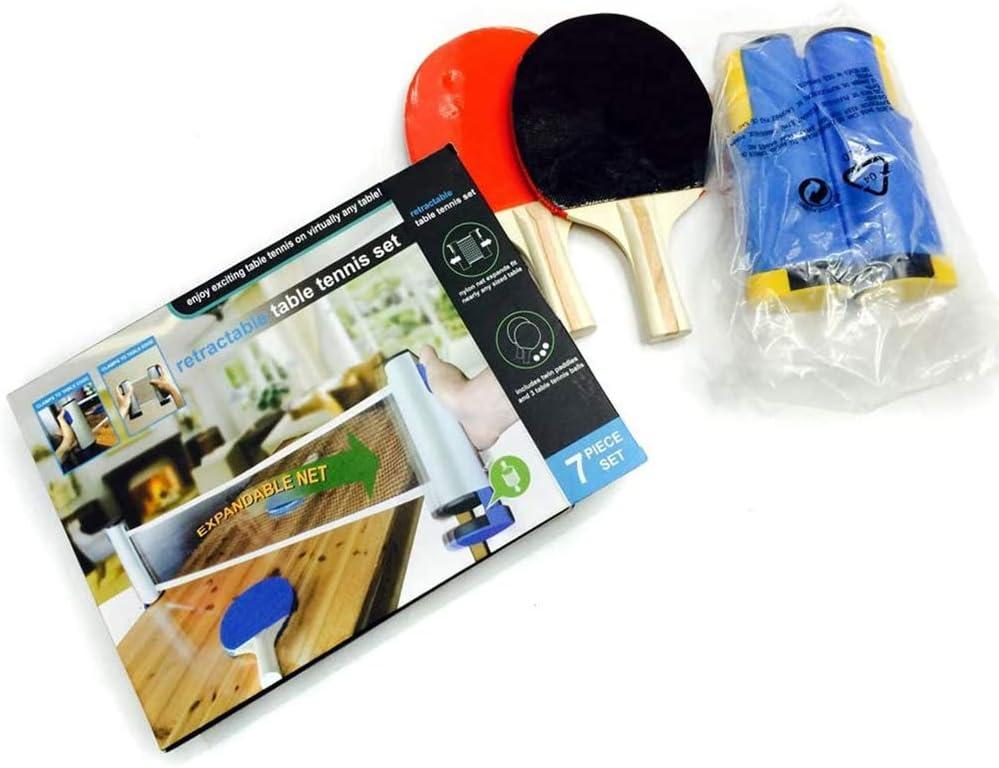 Latocos Sets de Ping Pong con Portátil Retráctil Redes de Tenis 2 Raquetas de Ping Pong Escuela el Hogar el Club Deportivo la Oficina