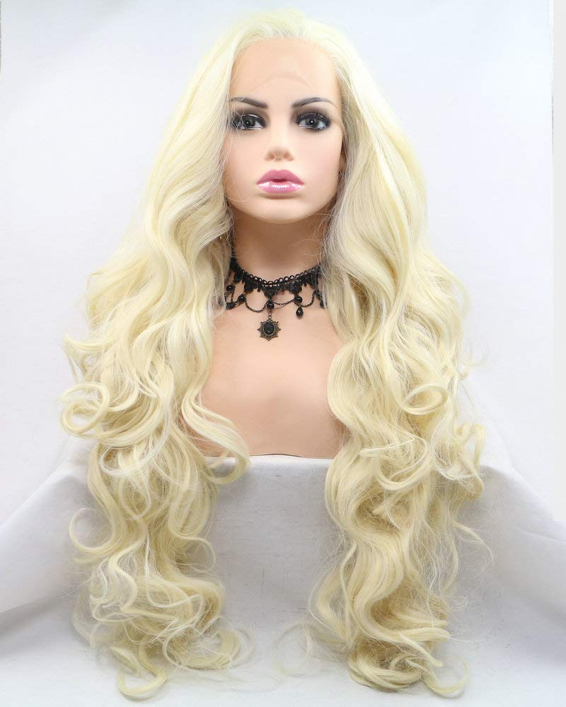 48ce947cdbd217 Amazon.com : Flawless Long Wave Hair Drag Queen Wig Natural Hairline Heat  Resistant Synthetic Lace Front Wigs For Women Girls Cosplay Wedding 613#  Pastel ...