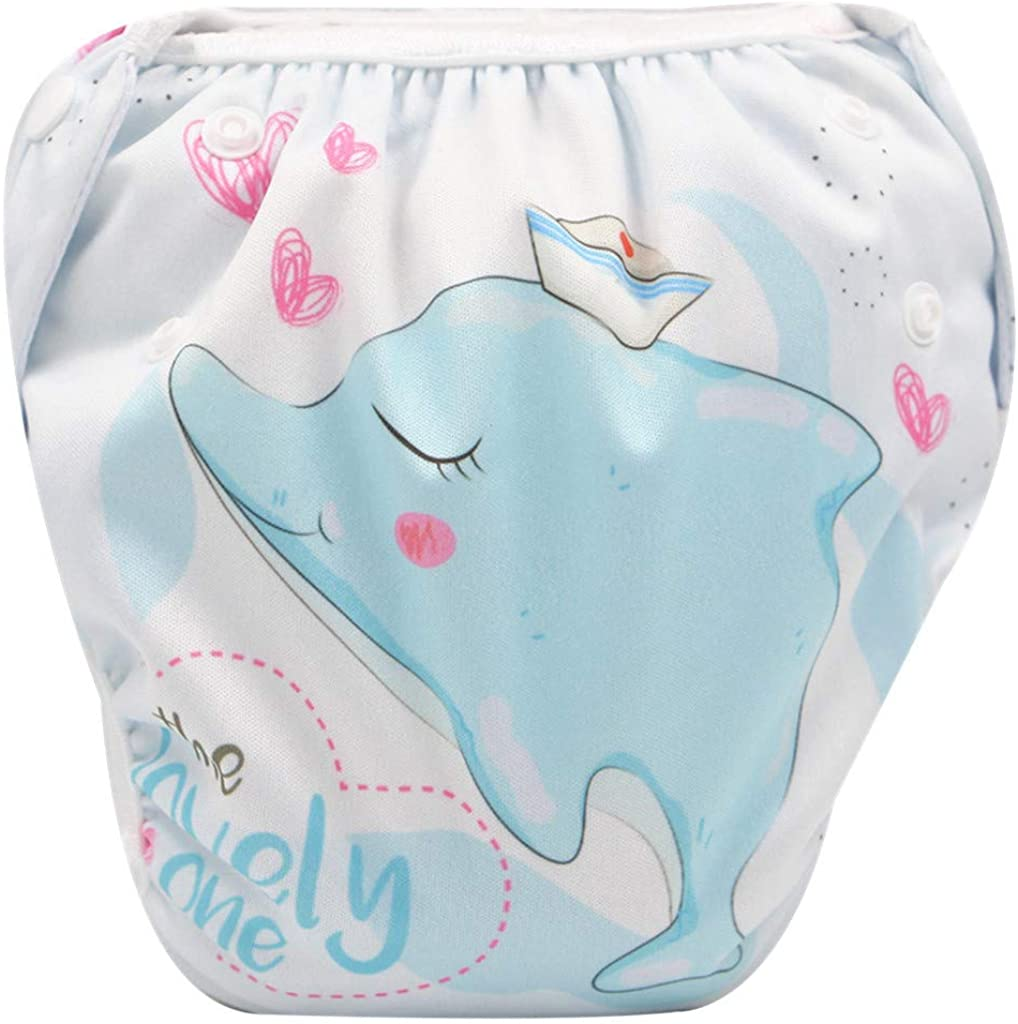 Joysale Reusable Swim Diaper for Toddler Babys E,Free Size Adjustable Washable Snap Nappy,One Size
