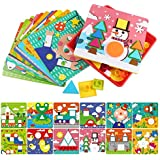 Sillbird Early Learning Educational Toys Button Art Color Geometry Shape Matching Mosaic Peg Board Puzzle Games for Toddlers Preschoolers