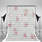 5x6.5ft White Brick Wall Photography Background Pink Flowers White Backdrop for Newborn Photo Studio