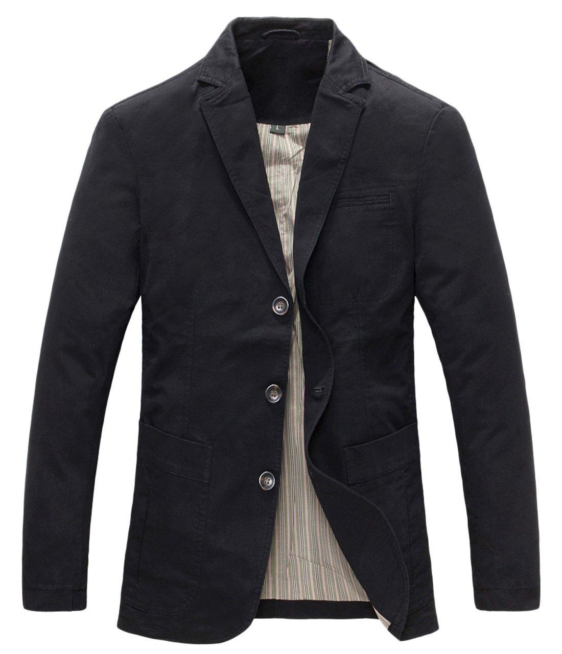 Chouyatou Men's Casual Three-Button Stripe Lined Cotton Twill Suit Jacket (Medium, Black)