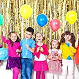 Diagtree 3.2 ft x 9.8 ft Metallic Tinsel Foil Fringe Curtains Backdrop for Party Photo Backdrop Wedding Birthday Decor (Gold, 1 pack)