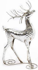 One Holiday Way Elegant Silver Metal Deer Figurine – Tabletop Christmas Decoration (Head Tilted)