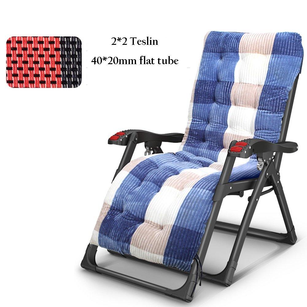 YNN リクライナー折りたたみチェアランチブレークオフィス家庭用多機能ベッドレイジーチェアビーチチェアシエスタ背もたれ椅子2 * 2テスリン8 * 8テスリン40 * 20mmフラットチューブ (色 : B, サイズ さいず : 8*8 Teslin) B07PCJHDWR B 8*8 Teslin