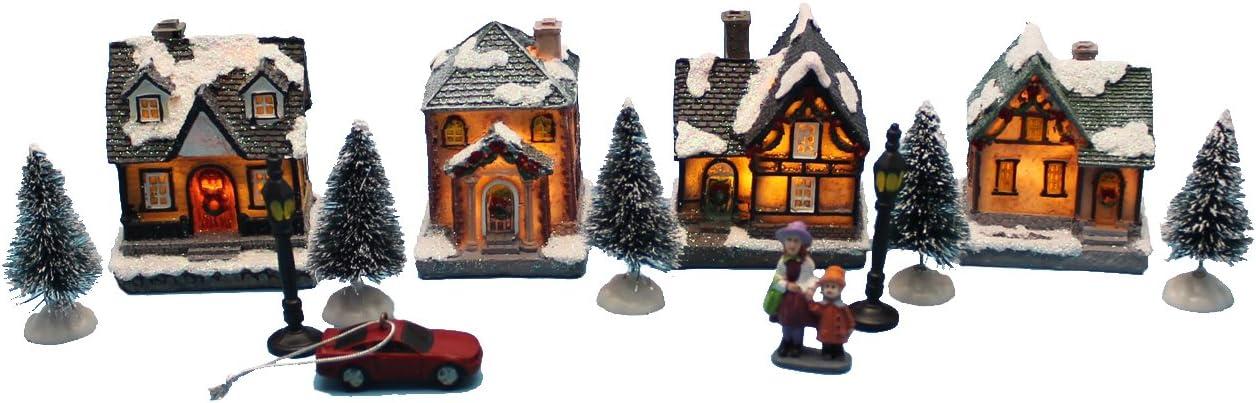 innodept12 Lighting up DIY Christmas Doll Figurine Tiny Resin House Village (House Village Building Set of 4)