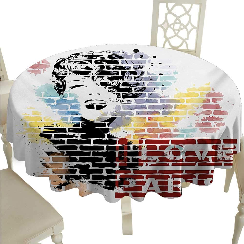 Paris Elegance Engineered Christmas Tablecloth I Love Paris Typography and Woman Figure on Street Wall Design Cool Artwork Print for Kitchen Dinning Tabletop Decoration D36 Multicolor