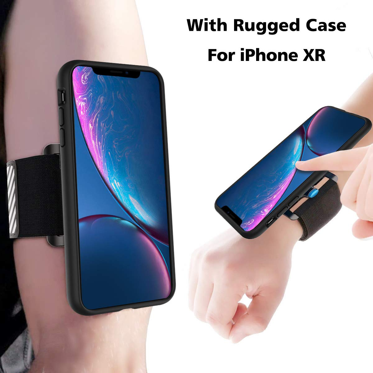 SPORTLINK Running Armband Case for iPhone XR, Detachable Wristband for Hiking Jogging Biking Workouts