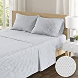 100% Hypoallergenic Cotton Sheets Set - Soft Diamond Full Bed Sheet With Deep Pocket - Grey Bedding Sets 4 Pieces [ 1 Fitted Sheet,1 Flat Sheet, and 2 Pillow Cases ] Full Size Sheets