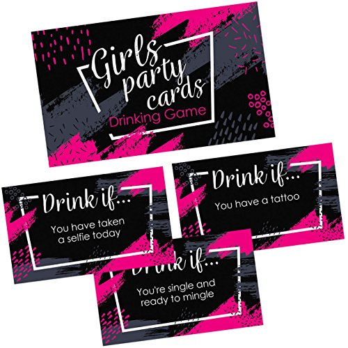 Girls Party Drinking Games Cards - 36 Funny & Naughty Adult Drink If Cards for Birthday, Night Out, Bachelorette Party Supplies & -