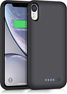 Ekrist Battery Case for iPhone XR, Upgraded [6800mAh] Portable Protective Charging Case Rechargeable Extended Battery Pack Power Bank Charger Case Compatible with Apple iPhone XR (Black)