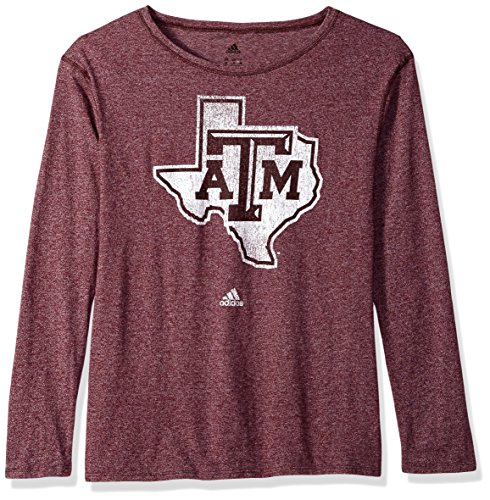 - adidas NCAA Texas A&M Aggies Womens Her Full Color Primary Logo L/s Crew Teeher Full Color Primary Logo L/s Crew Tee, Maroon, X-Large