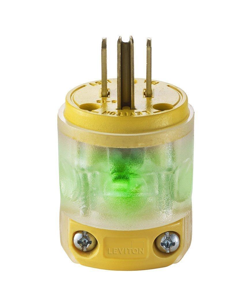 Leviton 515PV-LIT 36 Pack 15 Amp Straight Blade Grounding Lighted Plug, Yellow