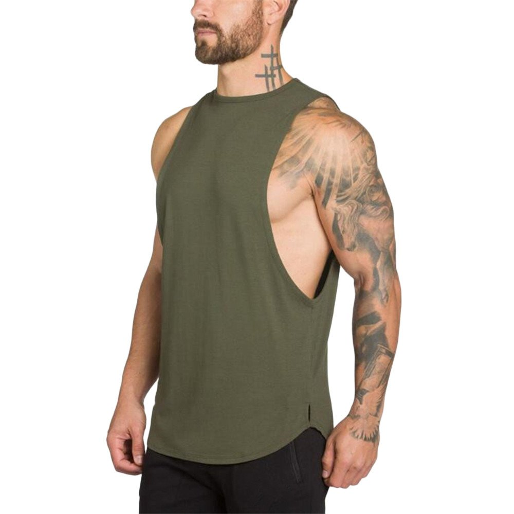 MODOQO Men's Tank Tops Fitness Sleeveless Cotton O-Neck T-Shirt Gym Vest(Army Green,M) by MODOQO (Image #3)