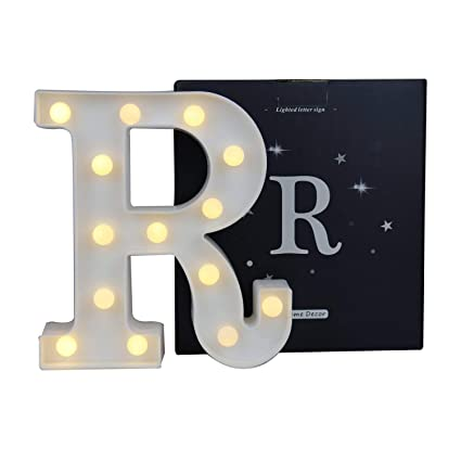 6c107a853 Pooqla LED Marquee Letter Lights Alphabet Light Up Sign Decoration R  (8.66inch, Battery