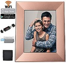 """Nixplay Iris 8"""" Wi-Fi Cloud Frame (W08E - Peach Copper), Samsung 16GB Class 6 Micro SDHC, Polaroid Memory Card Wallet and Ritz Gear Card Reader"""