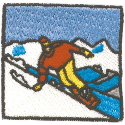 Applikation Patches Aufnäher Skifahren Gr. ca. 7cm x 7cm - 03201 - Sport Hobby Wintersport