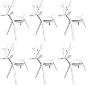 Christmas Home Decor - Holiday Reindeer White Metal Tea Light Candle Holder Table Decorations and Centerpieces, Set of 6