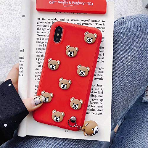 Maxlight Cute 3D Teddy Bear Soft Silicone Phone Case for iPhone 8 7 Plus Back Cover Case for iPhone X Coque Fundas with Bear Pendant (Red, for iPhone X XS)
