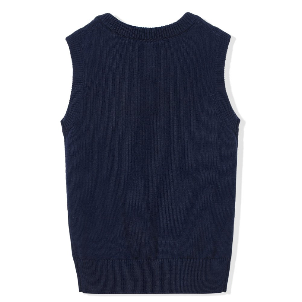 Benito & Benita Boys' Sweater Vest School V-Neck Uniforms Cotton Cable Knit Pullover Sweaters for Boys/Girls 3-12Y Navy by Benito & Benita (Image #2)