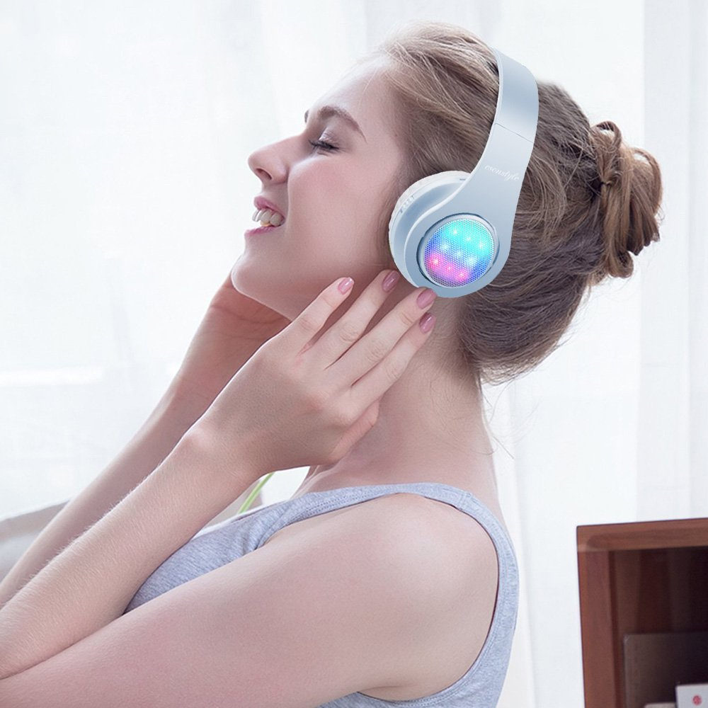 Esonstyle Bluetooth Headphone with 3 Led Light Mode Stereo Music Foldable Over-ear Hifi Sound Built in Mircophone Hands-free Wireless Calling for Smartphone,Tablet,PC,MAC and Laptop(Light Blue)