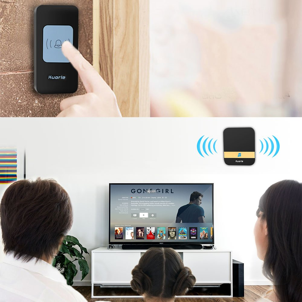 Wireless Doorbell, Kurole Waterproof Doorbell Kit Operating at 1000 ft with 1 Push Button and 2 Plugin Receivers, 52 melodies and 4 Volumes Doorbell Chime.